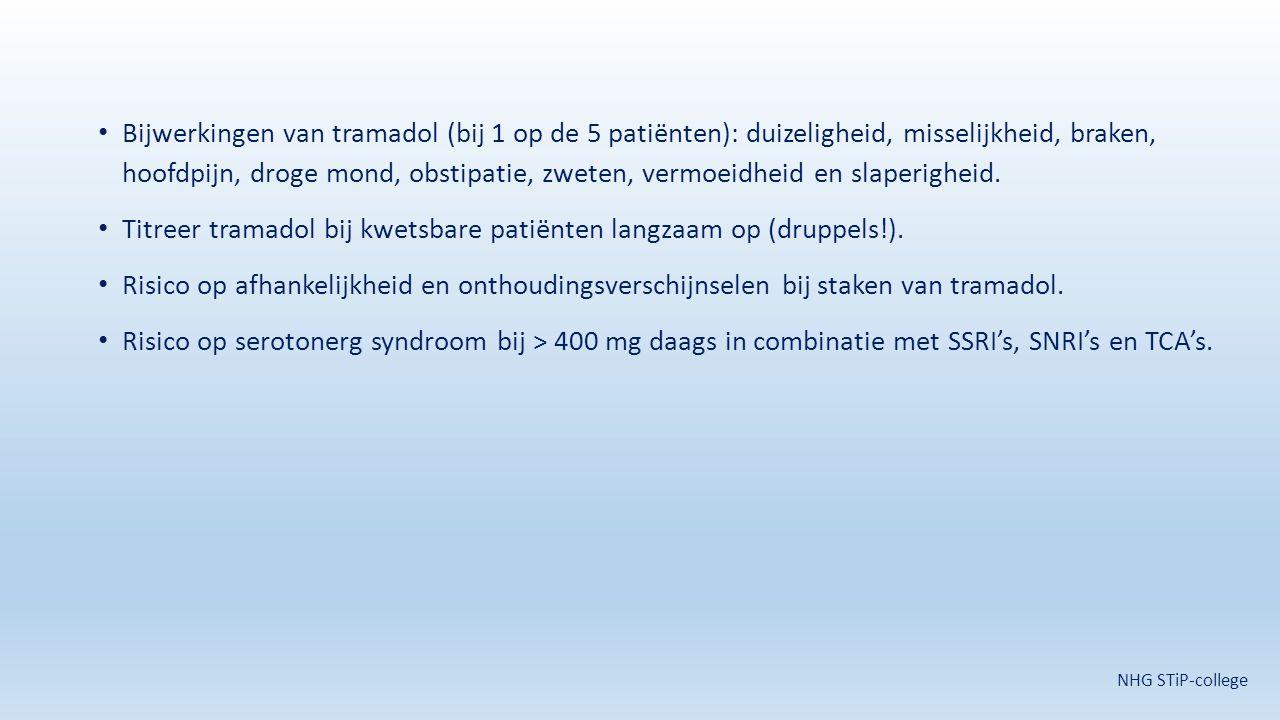 Titreer tramadol bij kwetsbare patiënten langzaam op (druppels!).