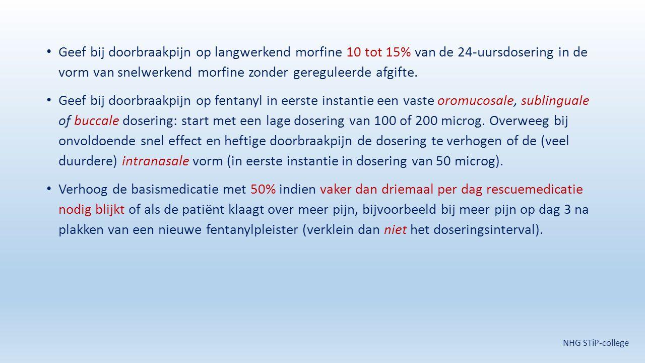 Geef bij doorbraakpijn op langwerkend morfine 10 tot 15% van de 24-uursdosering in de vorm van snelwerkend morfine zonder gereguleerde afgifte.