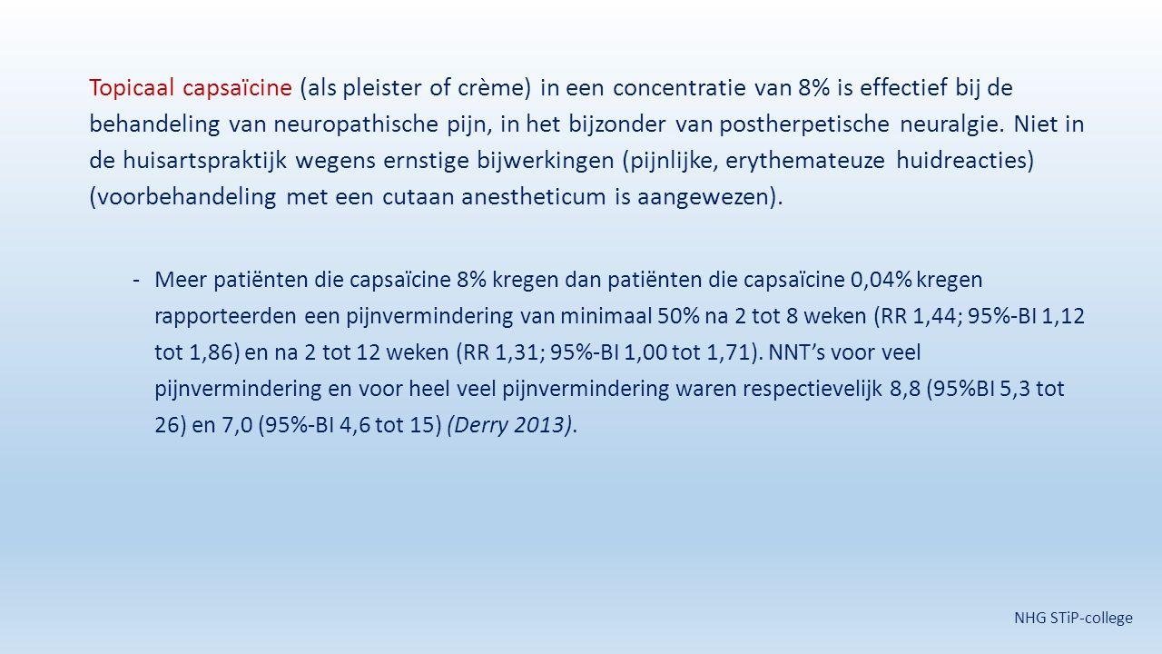 Topicaal capsaïcine (als pleister of crème) in een concentratie van 8% is effectief bij de behandeling van neuropathische pijn, in het bijzonder van postherpetische neuralgie. Niet in de huisartspraktijk wegens ernstige bijwerkingen (pijnlijke, erythemateuze huidreacties) (voorbehandeling met een cutaan anestheticum is aangewezen).