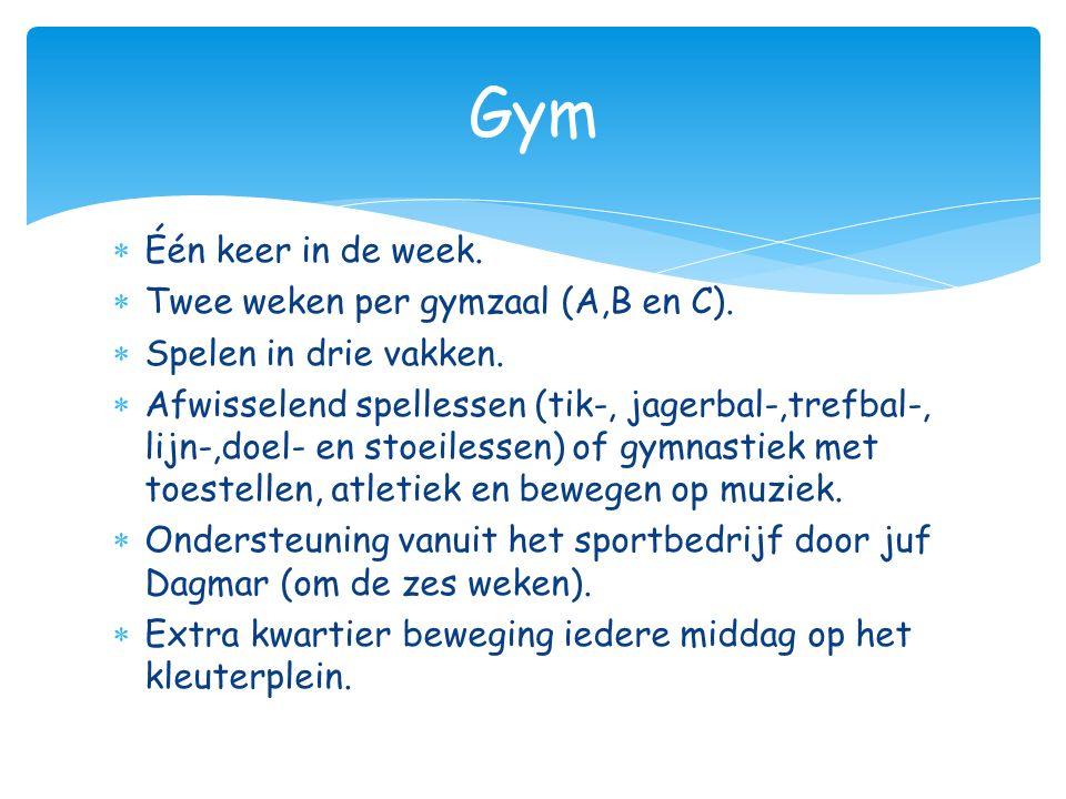 Gym Één keer in de week. Twee weken per gymzaal (A,B en C).