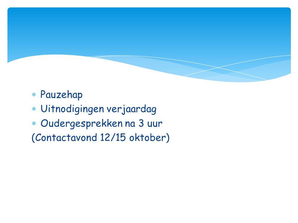 Pauzehap Uitnodigingen verjaardag Oudergesprekken na 3 uur (Contactavond 12/15 oktober)