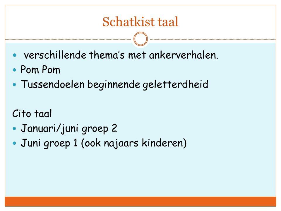 Schatkist taal verschillende thema's met ankerverhalen. Pom Pom
