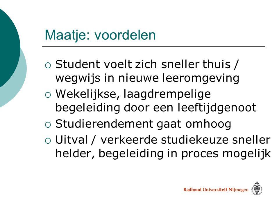 Maatje: voordelen Student voelt zich sneller thuis / wegwijs in nieuwe leeromgeving. Wekelijkse, laagdrempelige begeleiding door een leeftijdgenoot.