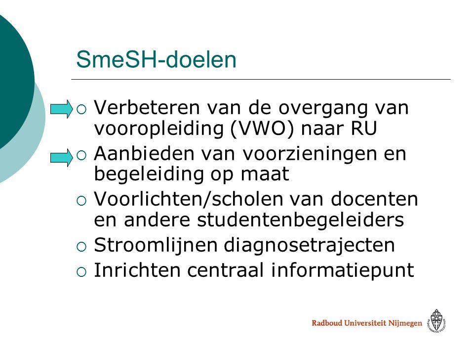 SmeSH-doelen Verbeteren van de overgang van vooropleiding (VWO) naar RU. Aanbieden van voorzieningen en begeleiding op maat.