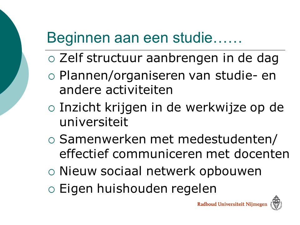 Beginnen aan een studie……