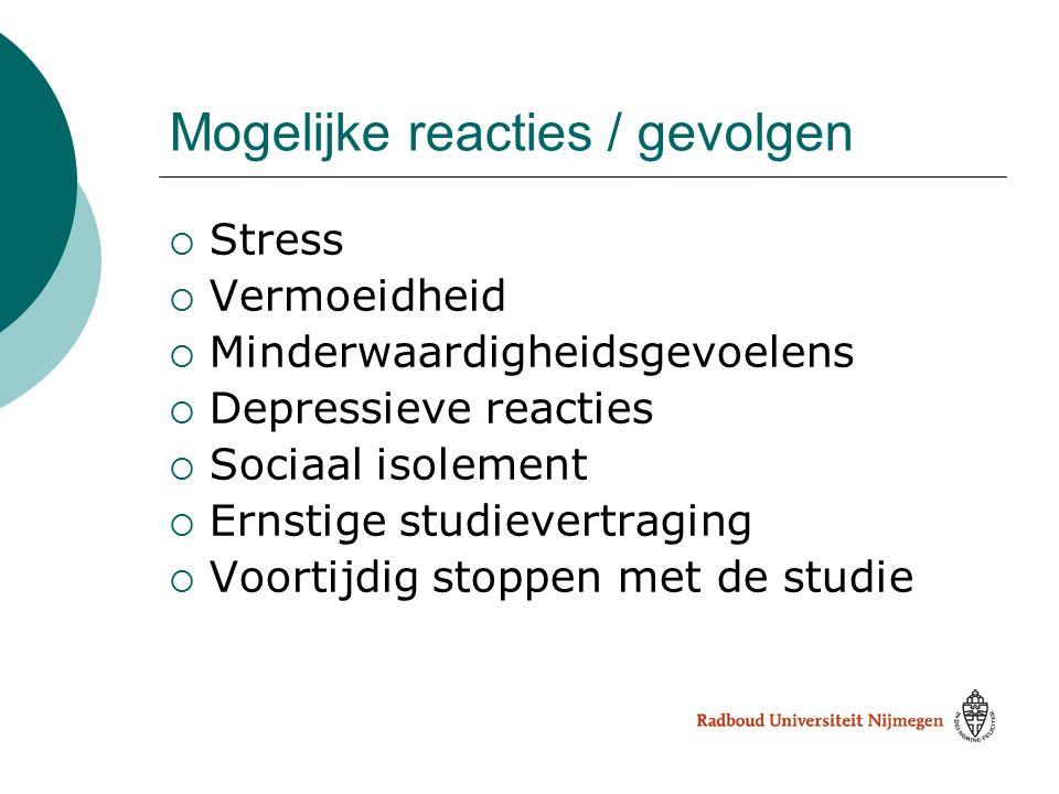 Mogelijke reacties / gevolgen