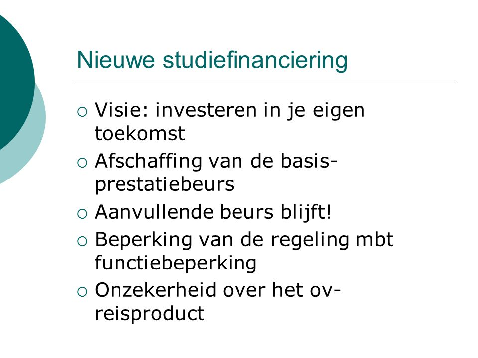 Nieuwe studiefinanciering