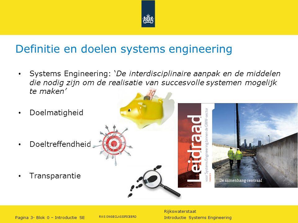 Definitie en doelen systems engineering