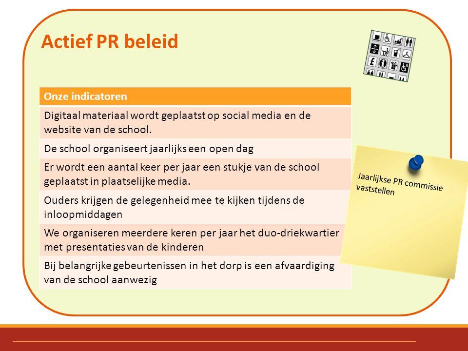 Actief PR beleid Onze indicatoren