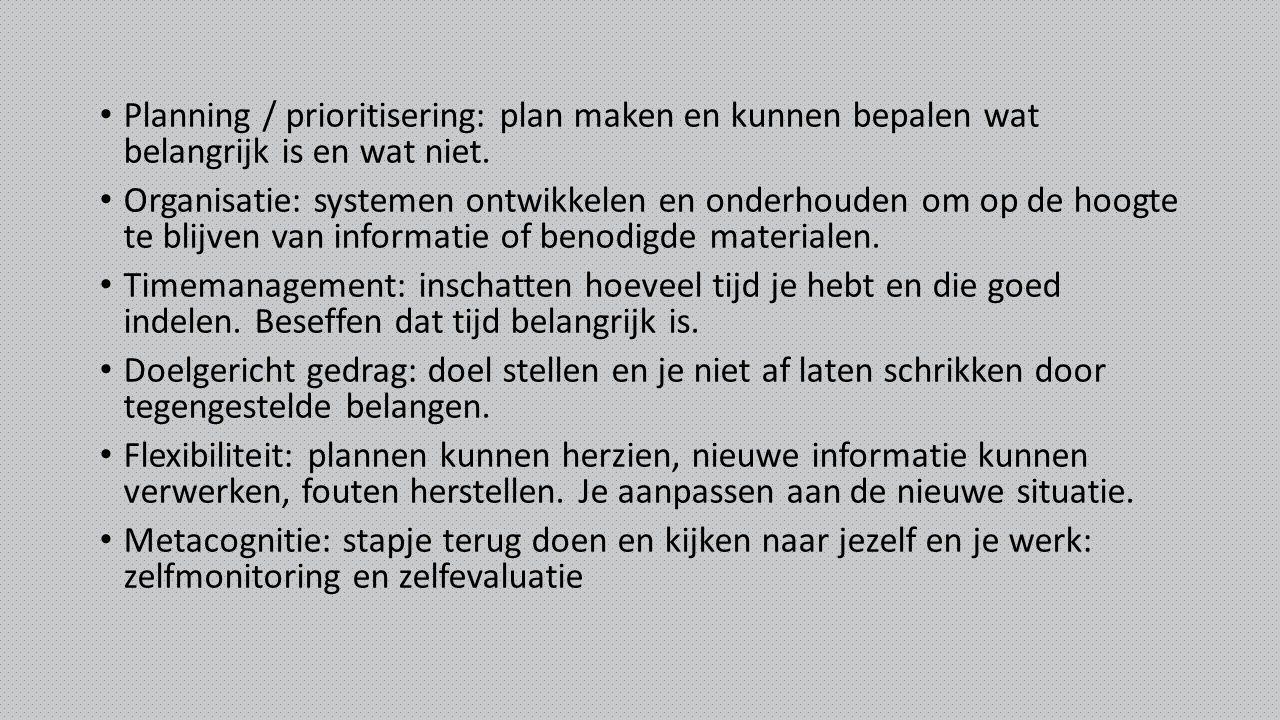 Planning / prioritisering: plan maken en kunnen bepalen wat belangrijk is en wat niet.