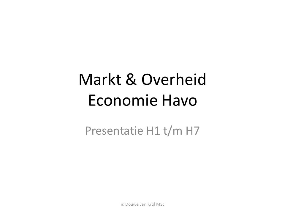 Markt & Overheid Economie Havo