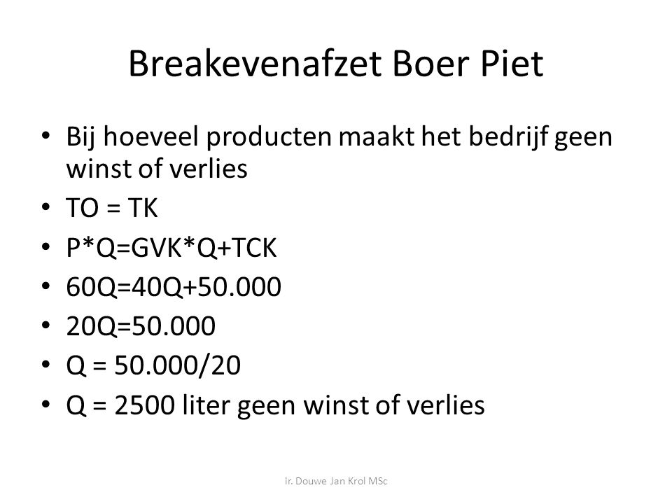 Breakevenafzet Boer Piet