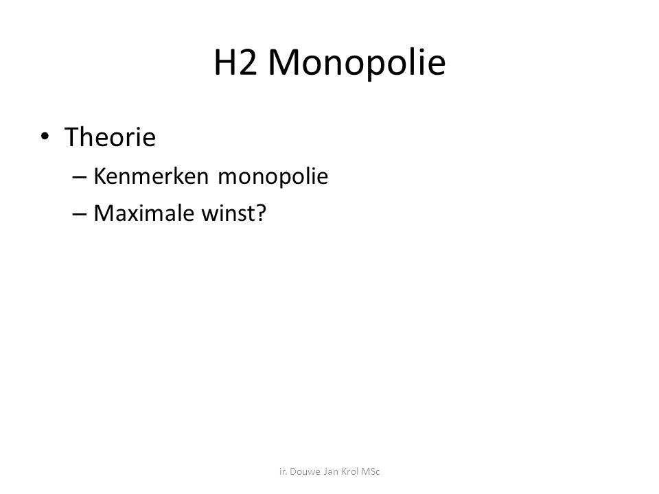 H2 Monopolie Theorie Kenmerken monopolie Maximale winst