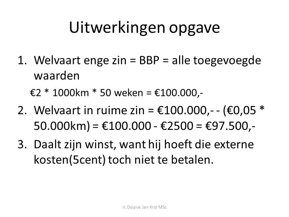 Uitwerkingen opgave Welvaart enge zin = BBP = alle toegevoegde waarden
