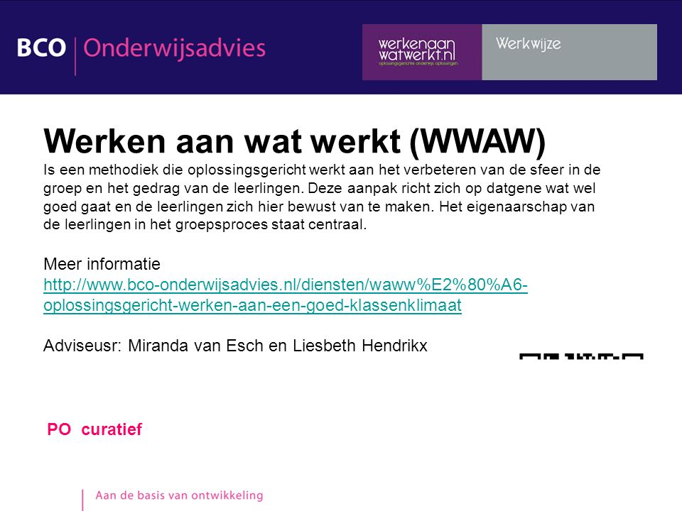 Werken aan wat werkt (WWAW)
