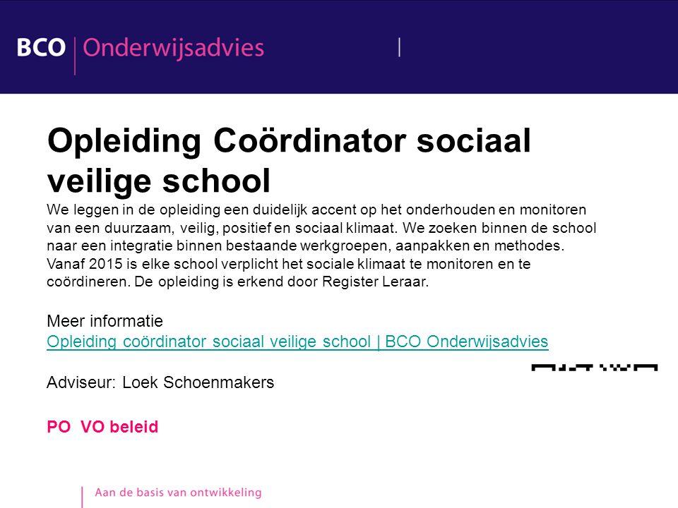 Opleiding Coördinator sociaal veilige school