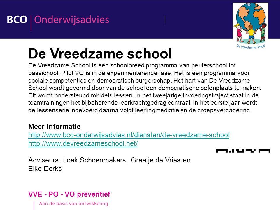 De Vreedzame school Meer informatie