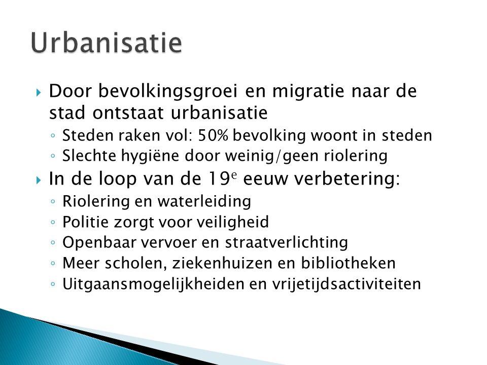 Urbanisatie Door bevolkingsgroei en migratie naar de stad ontstaat urbanisatie. Steden raken vol: 50% bevolking woont in steden.