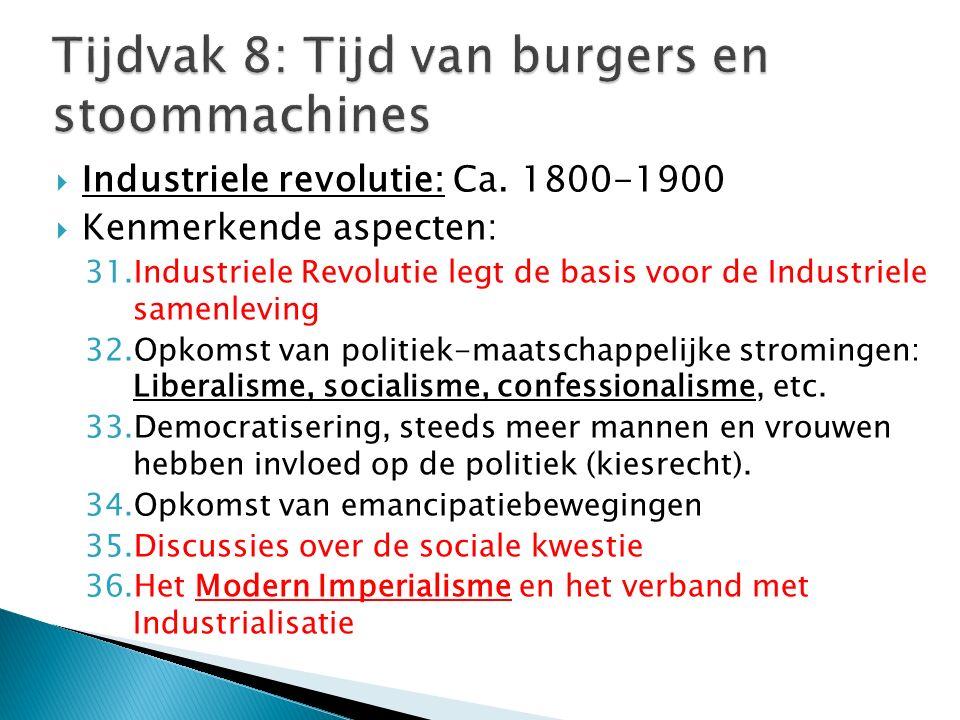 Tijdvak 8: Tijd van burgers en stoommachines