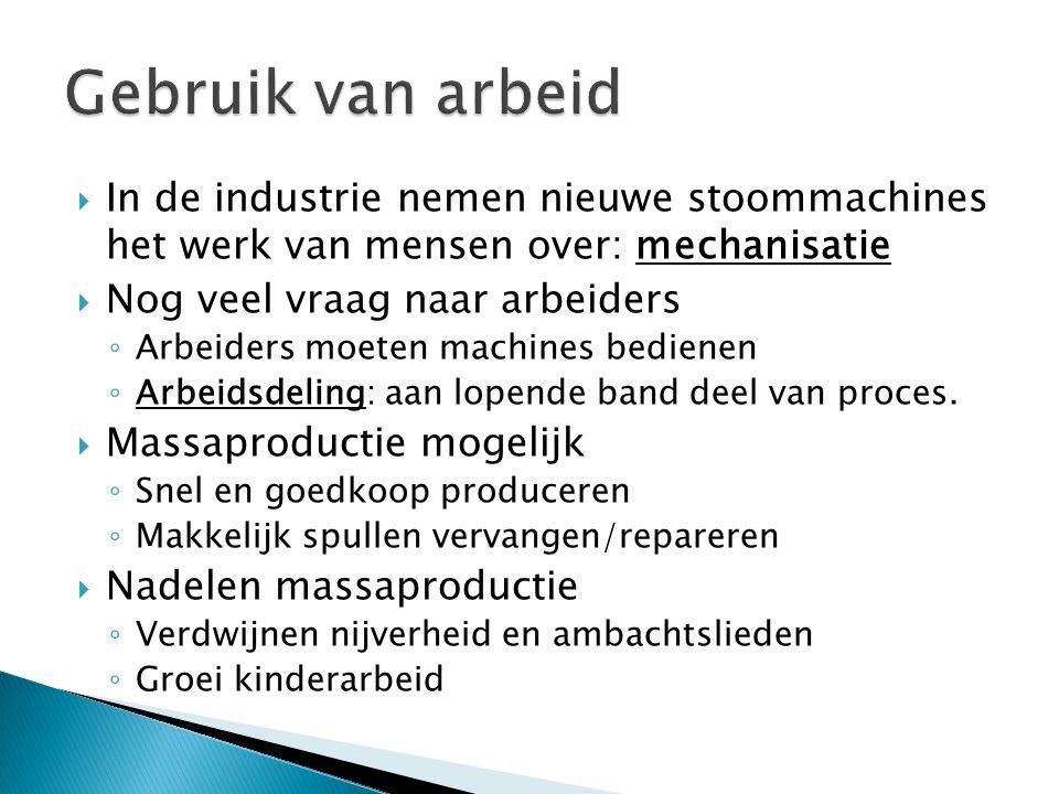 Gebruik van arbeid In de industrie nemen nieuwe stoommachines het werk van mensen over: mechanisatie.