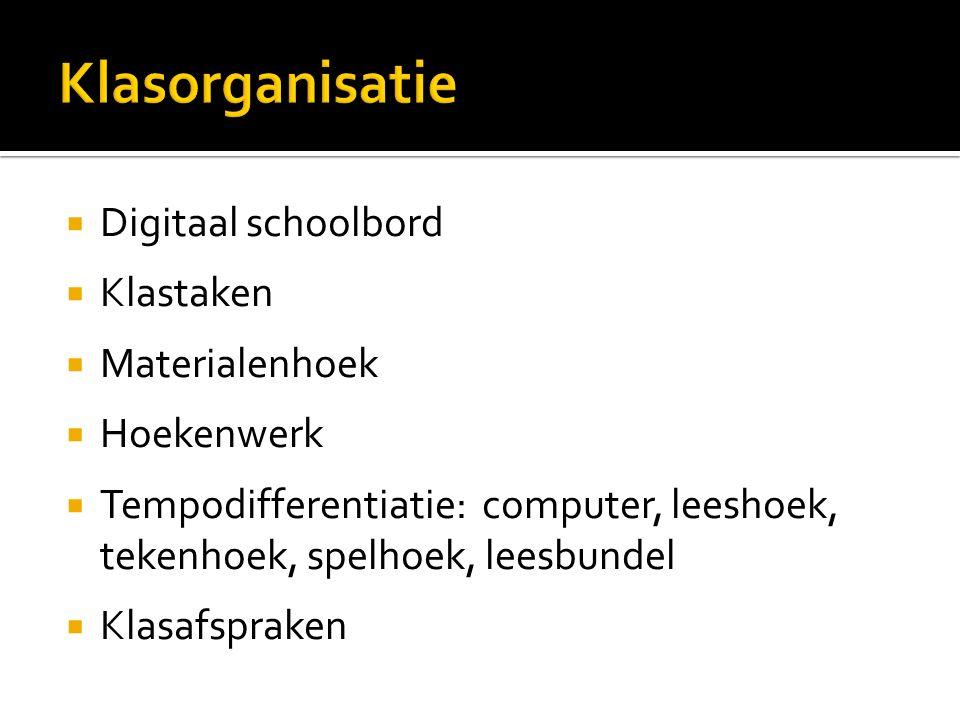 Klasorganisatie Digitaal schoolbord Klastaken Materialenhoek