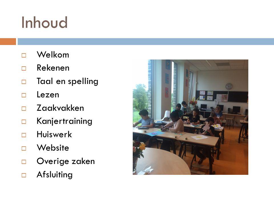 Inhoud Welkom Rekenen Taal en spelling Lezen Zaakvakken Kanjertraining