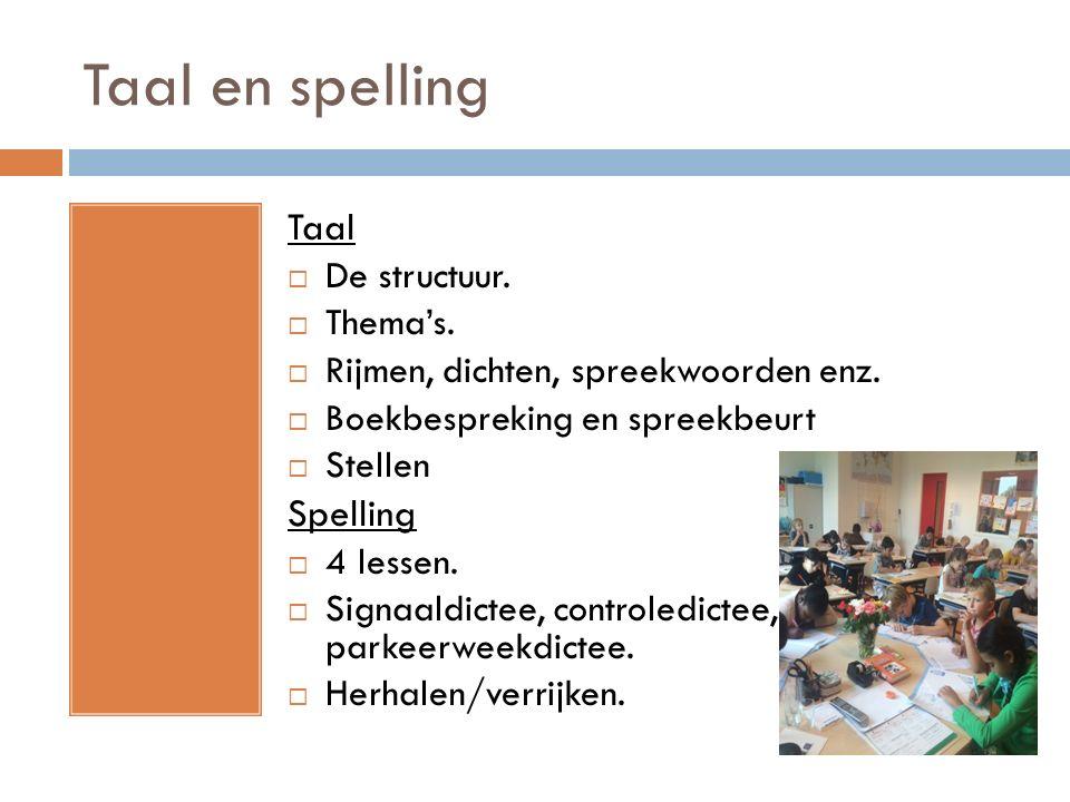 Taal en spelling Taal Spelling De structuur. Thema's.