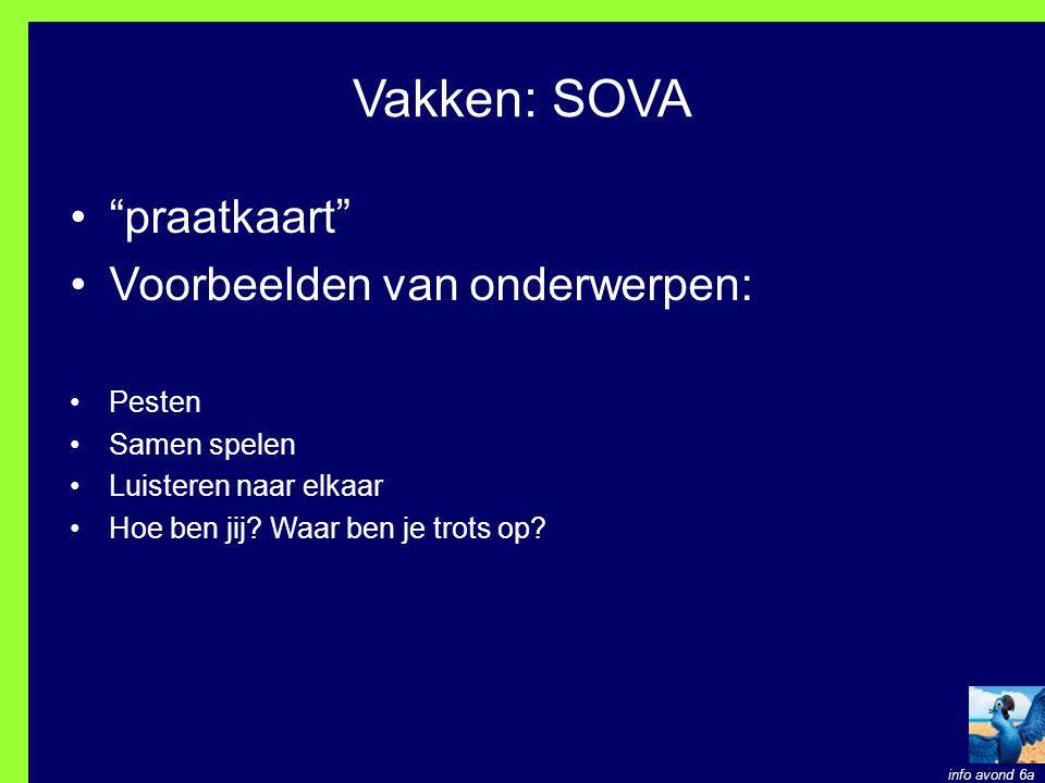 Vakken: SOVA praatkaart Voorbeelden van onderwerpen: Pesten
