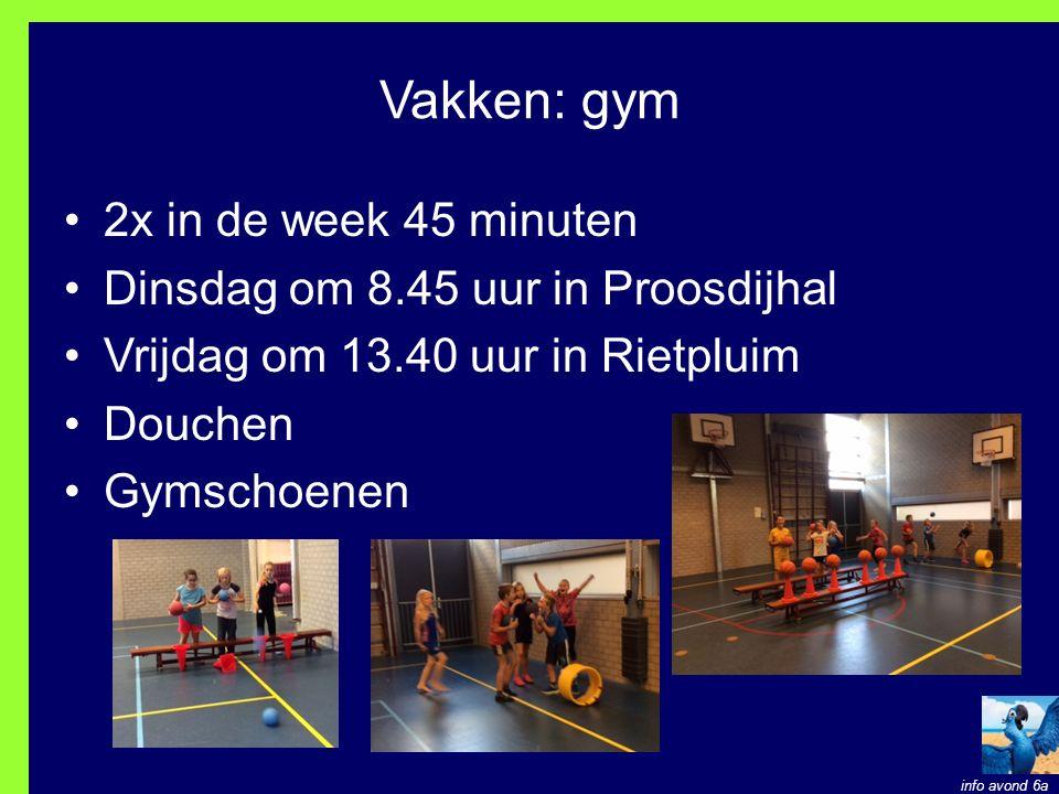 Vakken: gym 2x in de week 45 minuten
