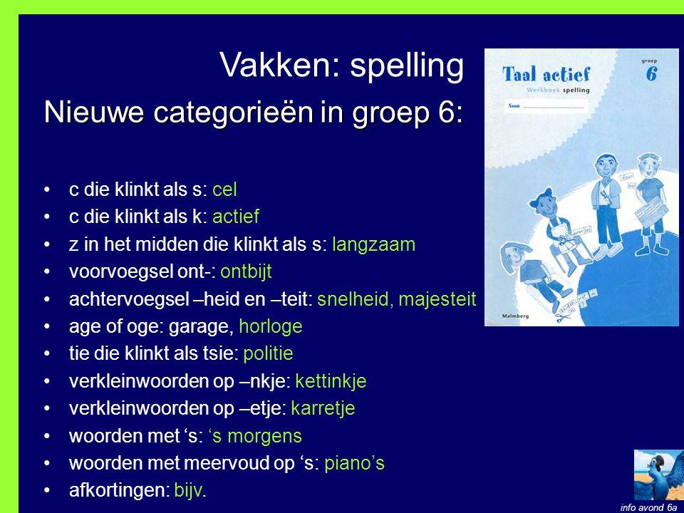 Vakken: spelling Nieuwe categorieën in groep 6: