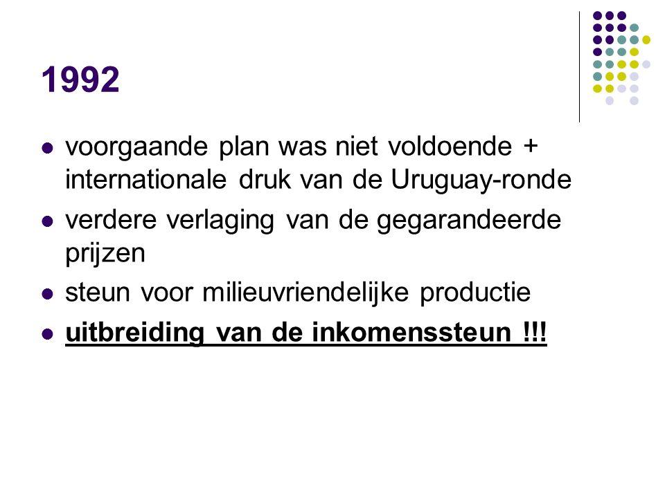 1992 voorgaande plan was niet voldoende + internationale druk van de Uruguay-ronde. verdere verlaging van de gegarandeerde prijzen.