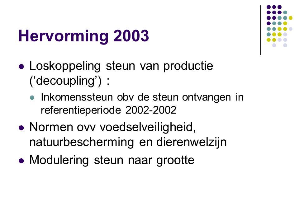 Hervorming 2003 Loskoppeling steun van productie ('decoupling') :