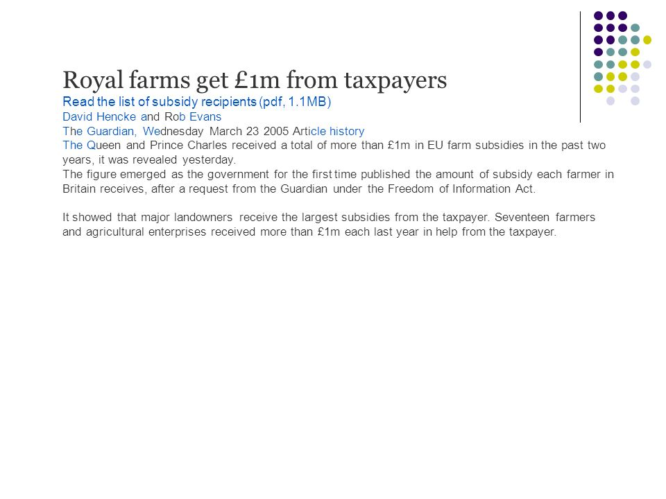 Royal farms get £1m from taxpayers