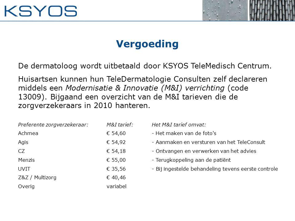 Vergoeding De dermatoloog wordt uitbetaald door KSYOS TeleMedisch Centrum.