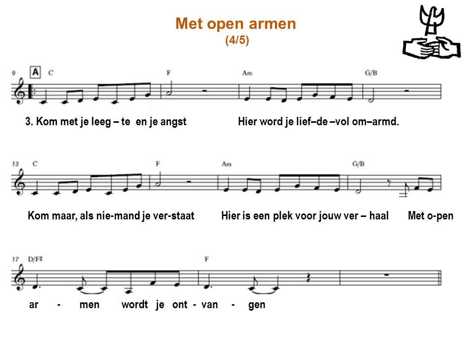 Met open armen (4/5) 3. Kom met je leeg – te en je angst Hier word je lief–de –vol om–armd.