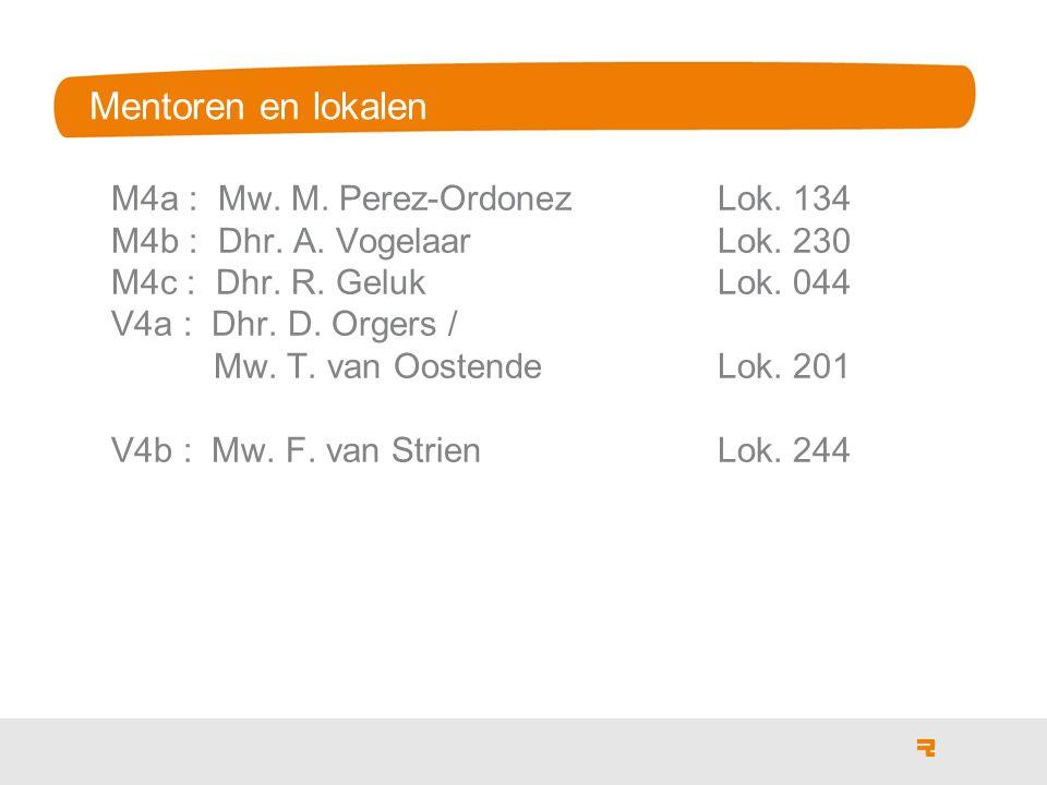 Mentoren en lokalen M4a : Mw. M. Perez-Ordonez Lok. 134