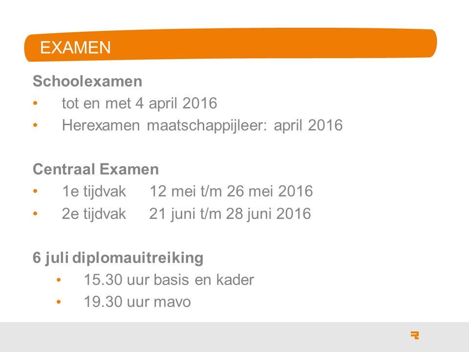 EXAMEN Schoolexamen tot en met 4 april 2016