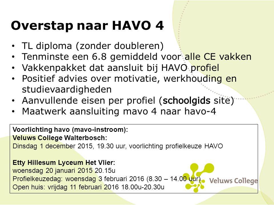 Overstap naar HAVO 4 TL diploma (zonder doubleren)