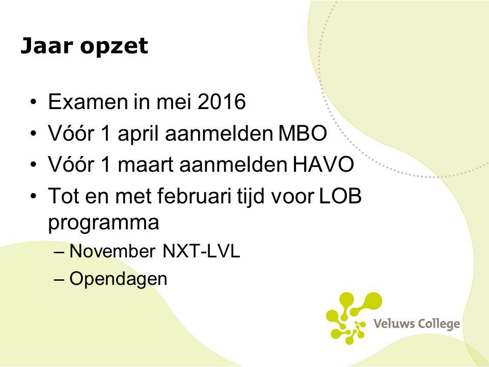 Vóór 1 april aanmelden MBO Vóór 1 maart aanmelden HAVO