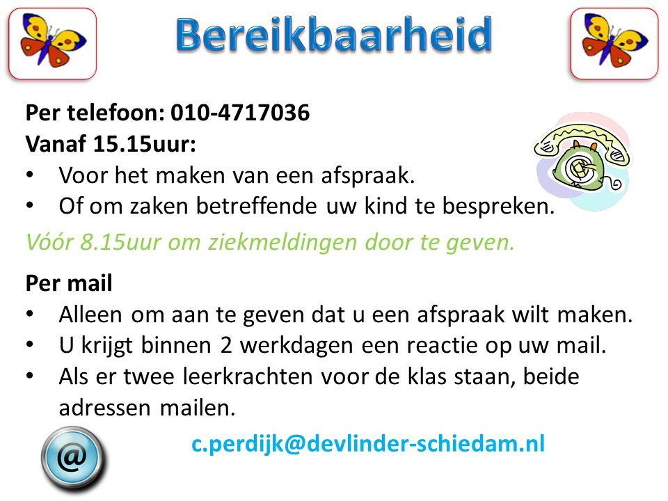 Bereikbaarheid Per telefoon: 010-4717036 Vanaf 15.15uur: