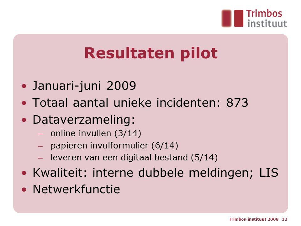 Resultaten pilot Januari-juni 2009