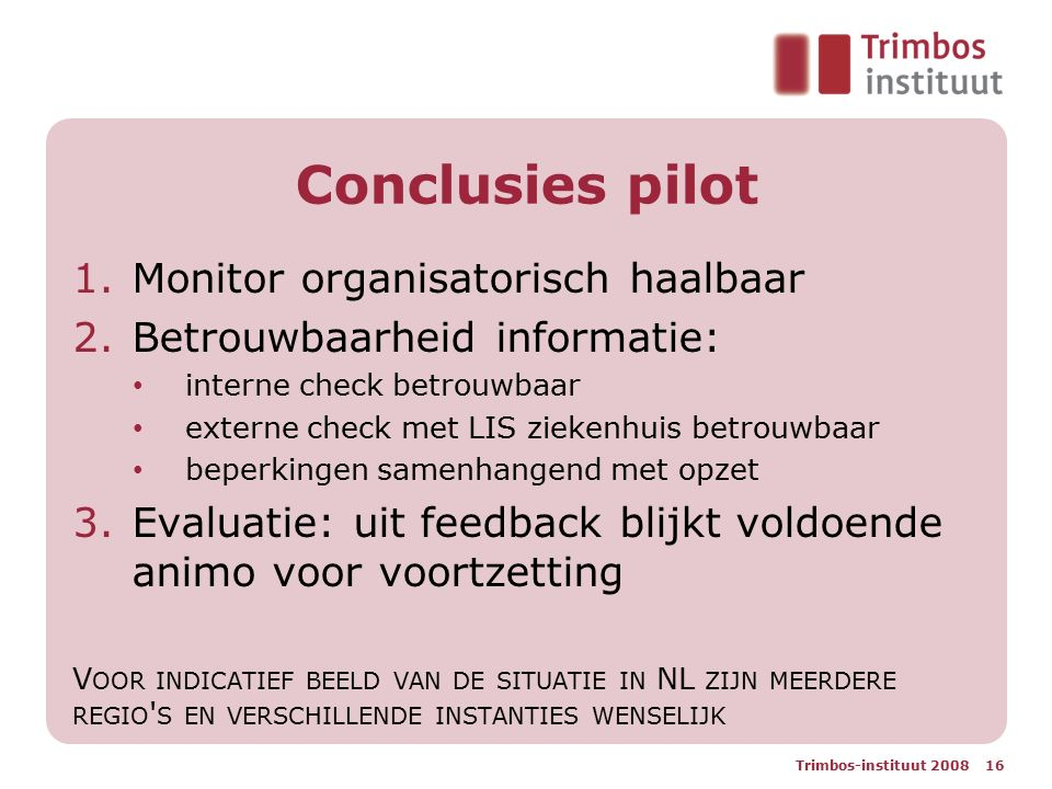 Conclusies pilot Monitor organisatorisch haalbaar