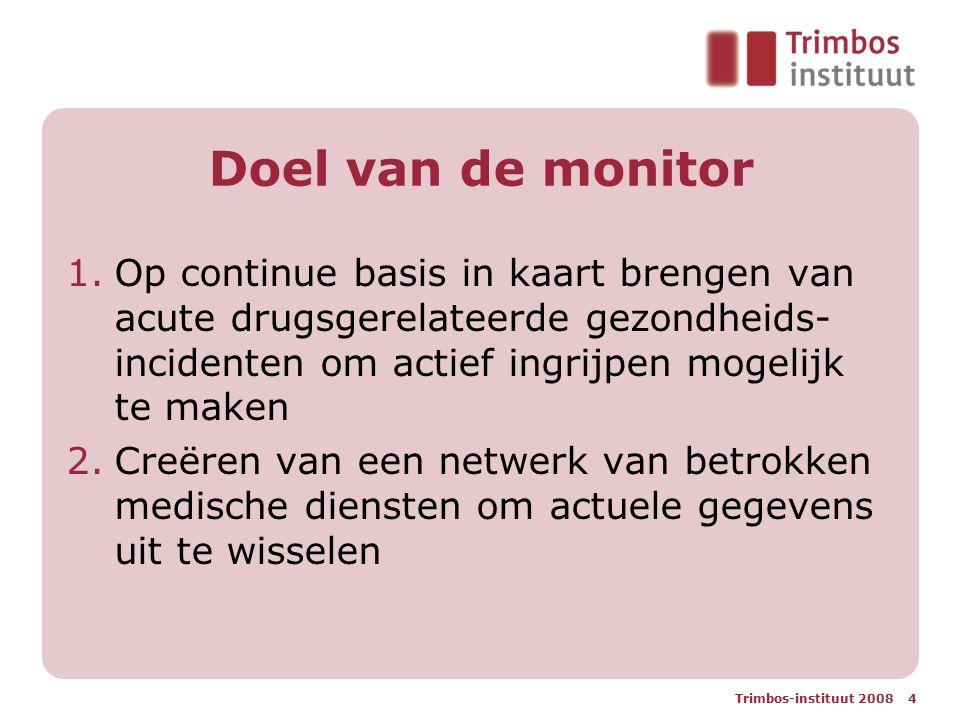 Doel van de monitor Op continue basis in kaart brengen van acute drugsgerelateerde gezondheids-incidenten om actief ingrijpen mogelijk te maken.
