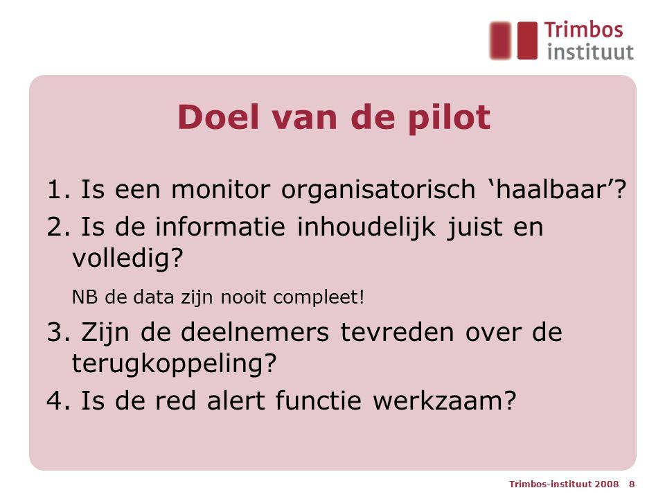 Doel van de pilot 1. Is een monitor organisatorisch 'haalbaar'
