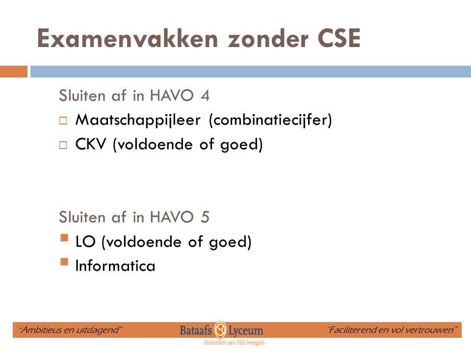 Examenvakken zonder CSE