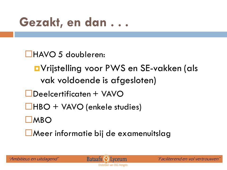 Gezakt, en dan . . . HAVO 5 doubleren: Vrijstelling voor PWS en SE-vakken (als vak voldoende is afgesloten)