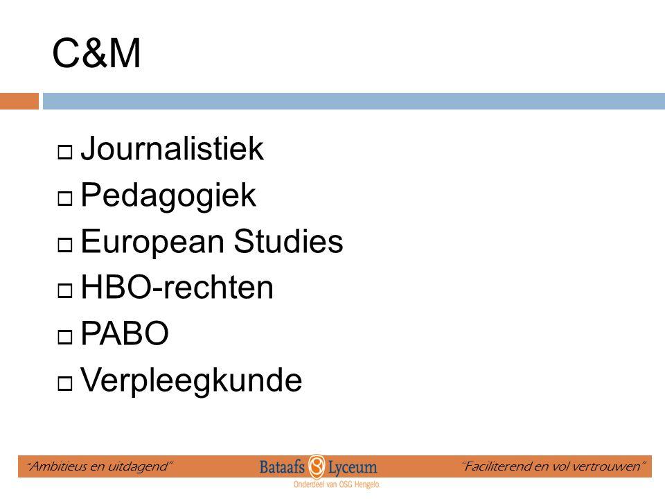 C&M Journalistiek Pedagogiek European Studies HBO-rechten PABO