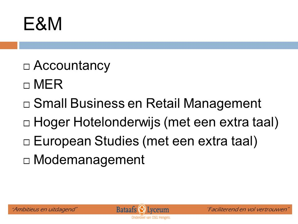 E&M Accountancy MER Small Business en Retail Management