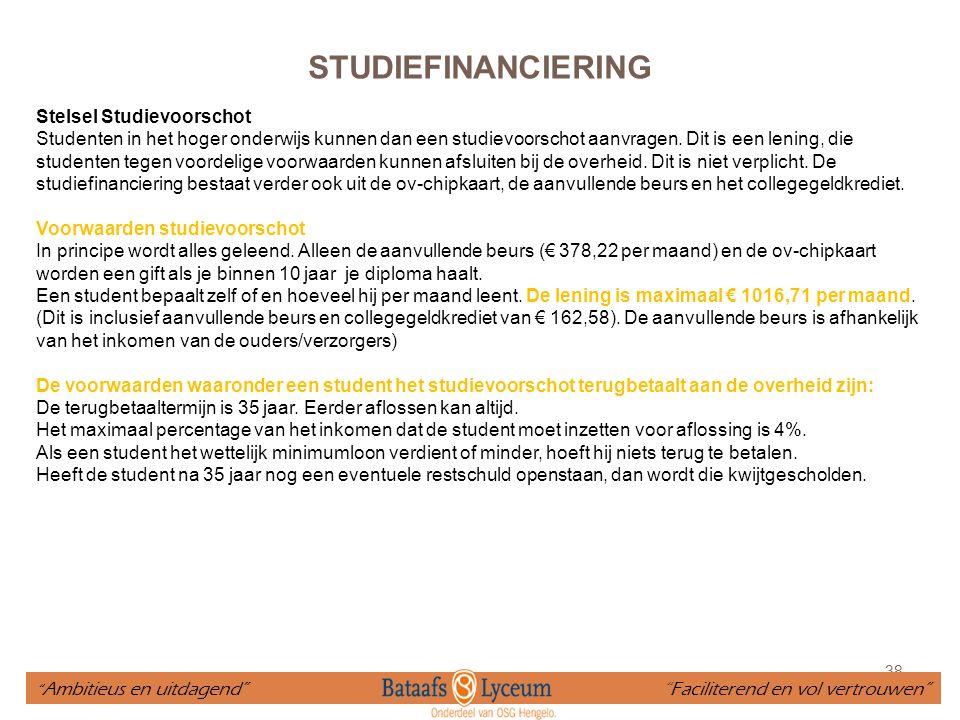 STUDIEFINANCIERING Stelsel Studievoorschot
