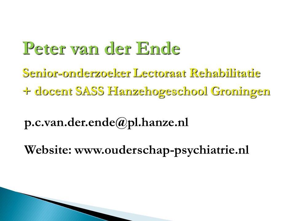 Peter van der Ende Senior-onderzoeker Lectoraat Rehabilitatie